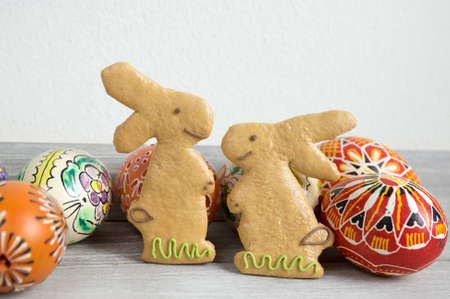 Easter homemade gingerbread cookies, comical animals, two bunnies