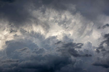 Heavy clouds background, blue, gray and white dramatic sky before coming big storm and rain Stock fotó