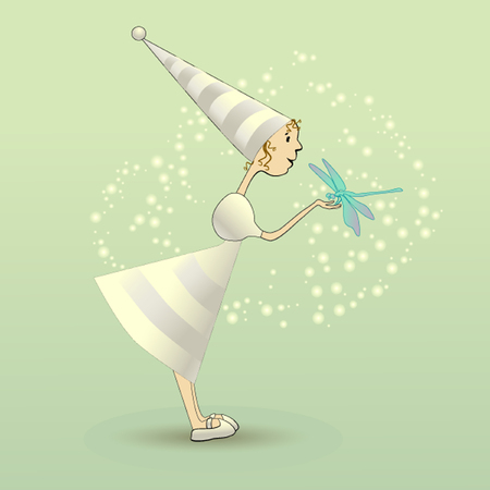 Illustration fairy with dragonfly Illustration