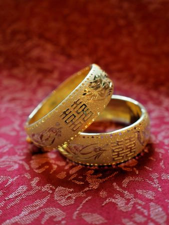 Chinese style gold wedding bangles in a pair for brides Stock Photo - 7047058