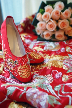 chinese woman: Chinese style bridal shoes Stock Photo