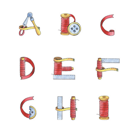 centimeter: Tri-color watercolor alphabet of sewing items: scissors, tape, button, spool, coil, jockey wheel, ruler and centimeter