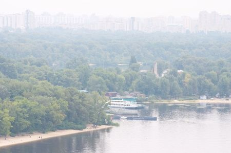 dnepr: Panorama of Kiev - other bank of Dnepr river Stock Photo