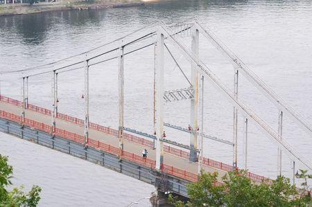 dnepr: Foot-bridge over Dnepr river, Kiev, Ukraine Stock Photo