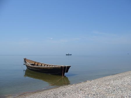 Lonely boot - Baikal zee (meer) Stockfoto
