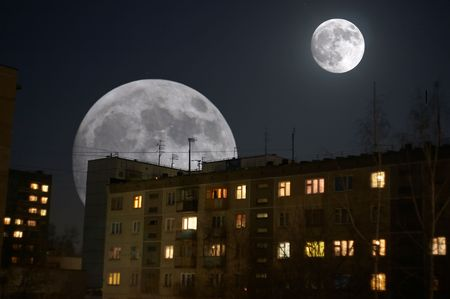 collage with two moons Imagens