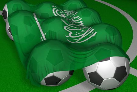 3D-rendering Saudi Arabia flag and soccer-balls - competitor of World Championship 2006 Stock Photo