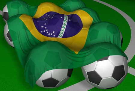 3D-rendering Brazil flag and soccer-balls - competitor of World Championship
