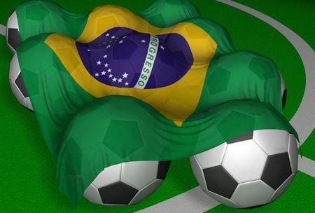 3D-rendering Brazilië vlag en voetbal-ballen - concurrent van World Championship