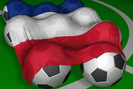 3D-rendering France flag and soccer-balls - competitor of World Championship Stock Photo - 406211