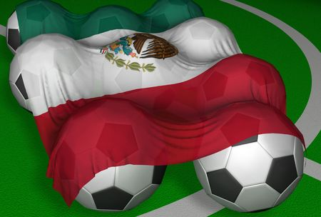 3D-rendering Mexico flag and soccer-balls - competitor of World Championship