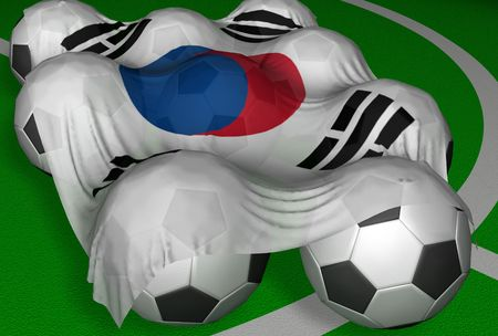 3D-rendering South Korea flag and soccer-balls - competitor of World Championship photo
