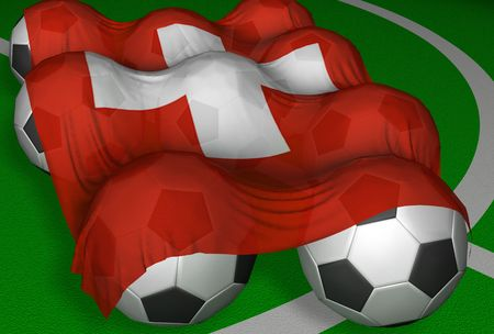 zwitserland vlag: 3D-rendering Zwitserland vlag en voetbal-ballen - concurrent van World Championship