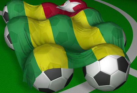 3D-rendering Togo flag and soccer-balls - competitor of World Championship photo