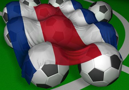 3D-rendering Costa Rica flag and soccer-balls - competitor of World Championship Stock Photo - 412944