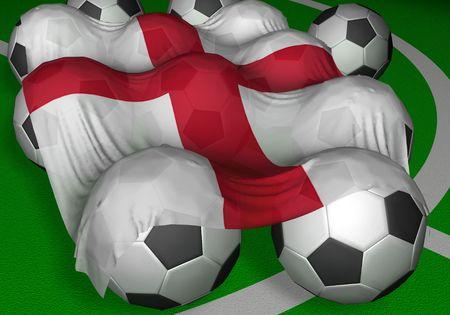 bandera inglaterra: Renderizado 3D-Inglaterra bandera y pelotas de f�tbol - competidor del Campeonato Mundial  Foto de archivo