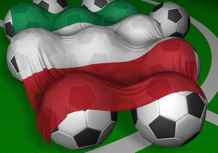 3D-rendering Italy flag and soccer-balls - competitor of World Championship photo