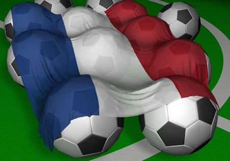 3D-rendering Netherlands (Holland) flag and soccer-balls - competitor of World Championship