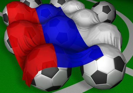 preferred: 3D-rendering Russia flag and soccer-balls - not competitor of mundial? but preferred author as citizen of this country :-) Stock Photo