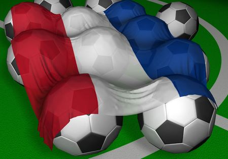 3D-rendering Serbia and Montenegro flag and soccer-balls - competitor of World Championship photo