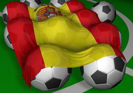 3 D レンダリング スペイン フラグとサッカー ボール - 世界選手権の競争相手