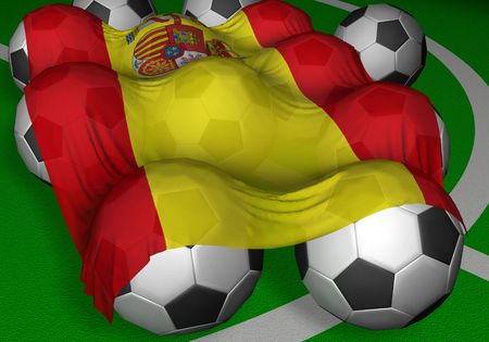 3D-rendering Spain flag and soccer-balls - competitor of World Championship Stok Fotoğraf