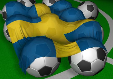 3D-rendering Sweden flag and soccer-balls - competitor of World Championship Stock Photo - 412933