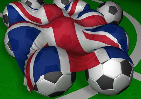 3D-rendering United Kingdom flag and soccer-balls - England as part of Great Britain is a competitor of a mundial