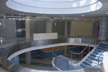 Atrium of new bank office Imagens