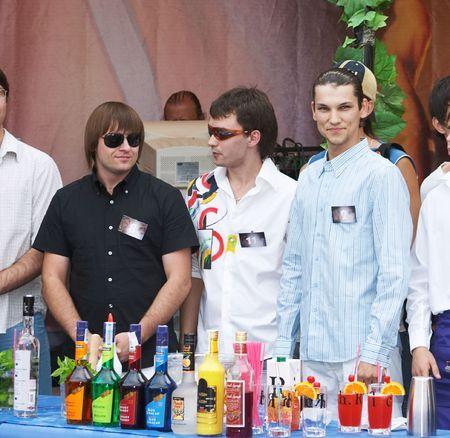 novosibirsk: Competitors of barman contest, 16 july 2006, Novosibirsk