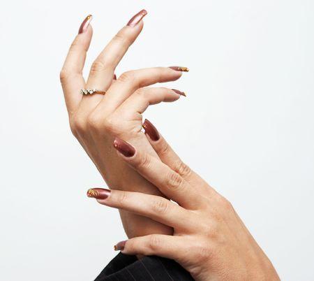 Hads met franse manicure Stockfoto