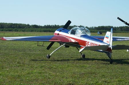 aerodrome: Sport plane in airshow, Novosibirsk, Mochishe aerodrome. Numbers is fake.