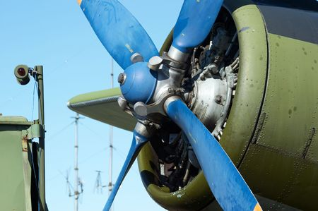 aerodrome: Close-up biplane engine. AN-2 (Antonov), in the airshow. Mochishe aerodrome, Novosibirsk