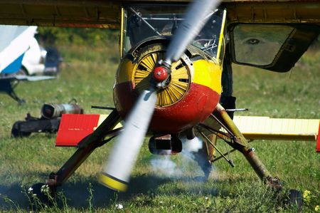 aerodrome: Sport plane in the airshow. Mochishe aerodrome, Novosibirsk