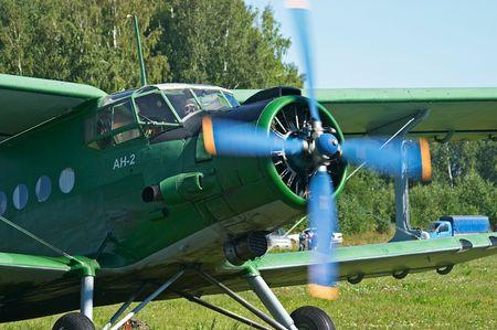 Biplane An-2 (Antonov) in the airshow. Mochishe aerodrome, Novosibirsk