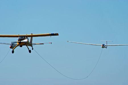 aerodrome: Sport plane and glider in the airshow. Mochishe aerodrome, Novosibirsk