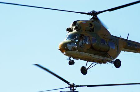 aerodrome: Helicopters in the airshow. Mochishe aerodrome, Novosibirsk Stock Photo