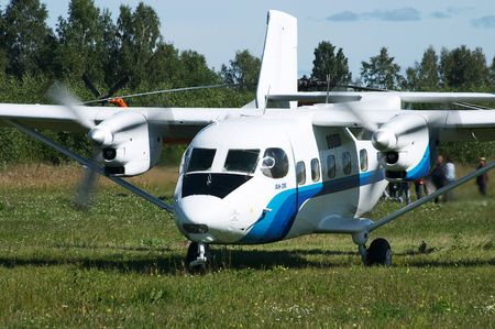 aerodrome: Skydivers plane An-28 (Antonov) in the airshow. Mochishe aerodrome, Novosibirsk Stock Photo