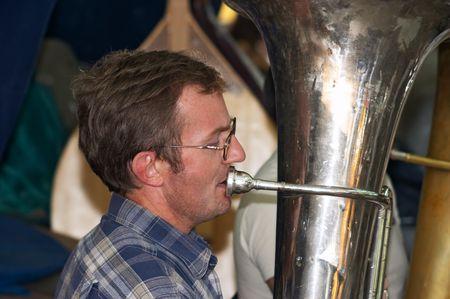 rehearsal: Rehearsal  brass-band of Philharmonic Society of Kazakhstan, Astana Stock Photo