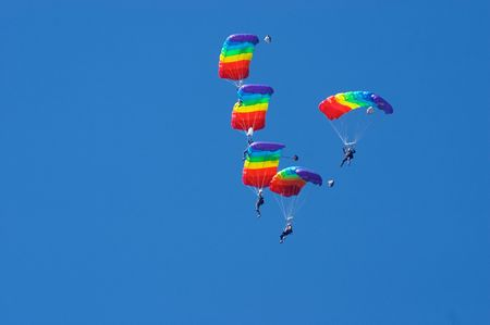 Skydivers in airshow. Novosibirsk, Airport Mochishe, august 2006