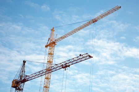 Lift cranes and blue sky. Center of Novosibirsk Stock Photo
