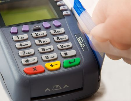 Credit card terminal (POS-terminal) for payment photo
