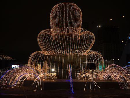 astana: Night scene of Astana, capital of Kazakhstan Republic. Light fountain