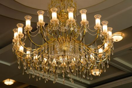 electrolier: Chandelier with crystal decorative elements.Theatre, Novosibirsk