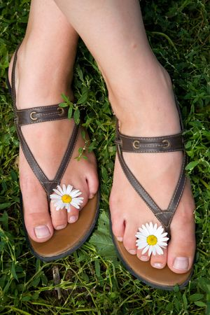 Legs with daisy flowers. Stock Photo - 2453404