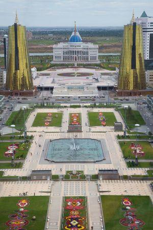 Uitzicht vanaf de Baiterek toren. Astana, hoofdstad van Kazachstan