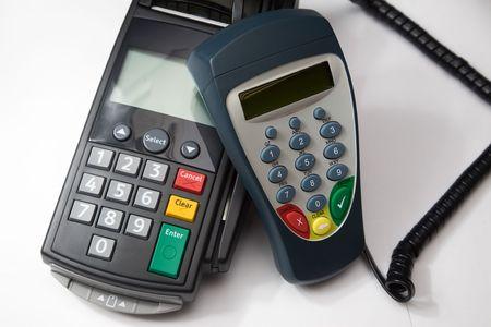 Credit card terminal (POS-terminal) voor betaling  Stockfoto