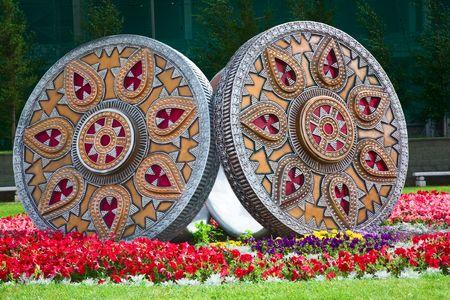 Monumentary rings. Nationality folk ornament, Astana, Kazakhstan Stok Fotoğraf