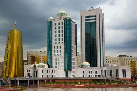 Moderne gebouwen. Astana, de hoofdstad van de Kazakhsatan. Stockfoto