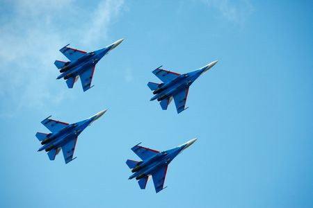 aerobatic: Aerobatic group Russian Knights. Air show, Novosibirsk